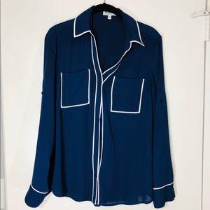 Express Portofino Piped Collar Button Down Shirt